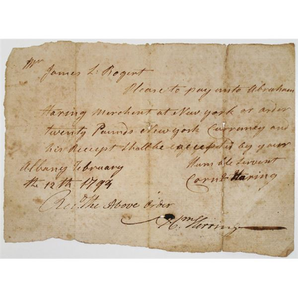 Albany, New York, 1794 Historic Handwritten Promissory Note Payable in New York Currency,
