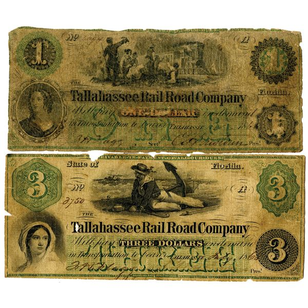 Tallahassee Rail Road Co., 1860 Obsolete Banknote Pair