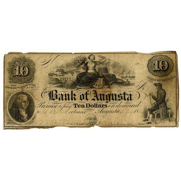 Bank of Augusta, 1858 $10 Remainder Banknote