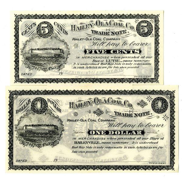 Haily-Ola Coal Co., 1900-1907, Remainder Banknote Pair.