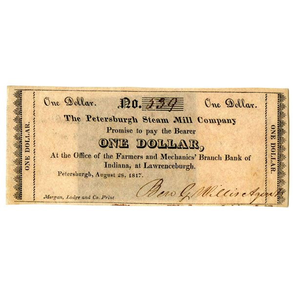 Petersburgh Steam Mill Co., 1817 Issued Obsolete Banknote.