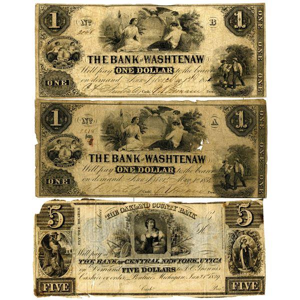 Michigan Obsolete Banknote Trio, ca.1839-1854.