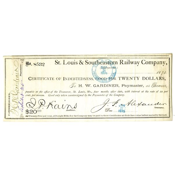 St. Louis & Southeastern Railway Co., 1874 Issue Obsolete Panic Currency Banknote.