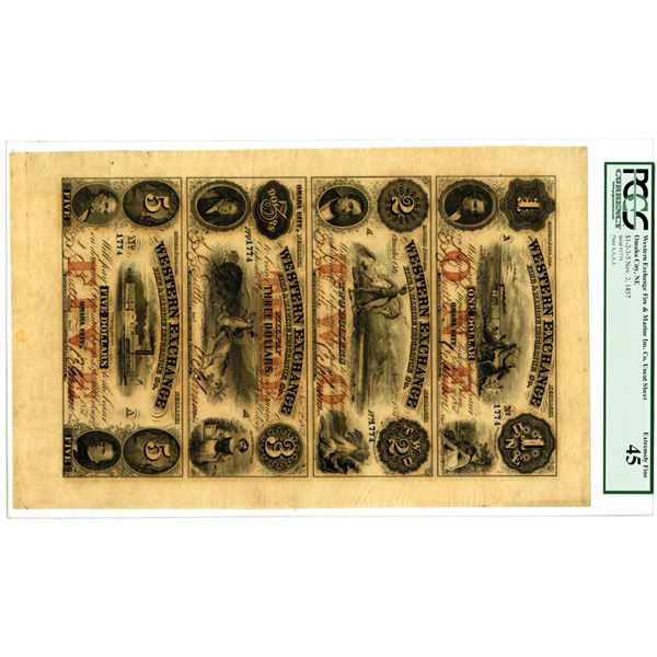 """Western Exchange Fire & Marine Insurance Co., 1857 """"Bishop Hill Colony"""" Obsolete Banknote Sheet."""