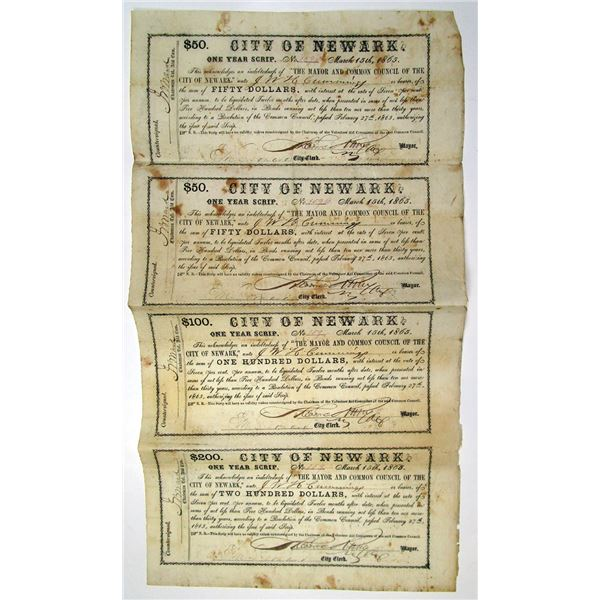 City of Newark, 1865 Uncut Obsolete Scrip Banknote Sheet of 4 Notes.