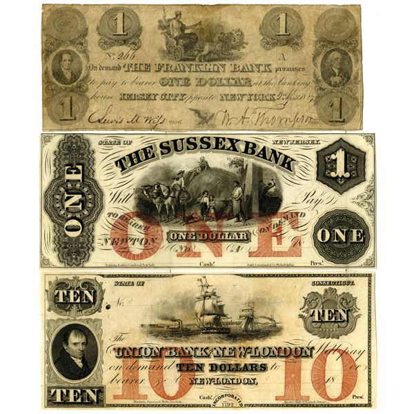 Northeastern State Obsolete Banknote Trio, ca. 1827 to 1850's.