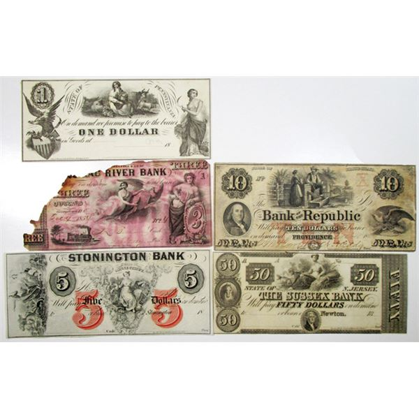 North East States Obsolete Banknote Assortment, ca.1840-1850's.