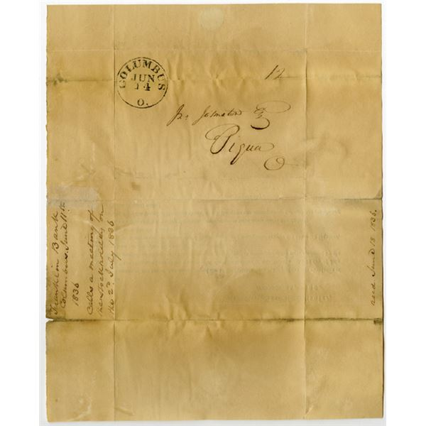 Columbus, Ohio. Franklin Bank of Columbus, 1836 Stampless Cover with Information of Change of Obsole