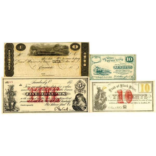 Ohio and Vermont Obsolete Scrip note Quartet, ca.1820-1870's.