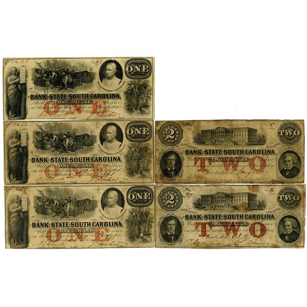 Bank of the State of South Carolina, 1861 and 1862 Obsolete Banknote Quintet.
