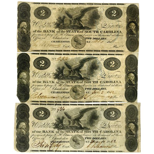 Bank of the State of South Carolina, 1862 Obsolete Banknote Trio.