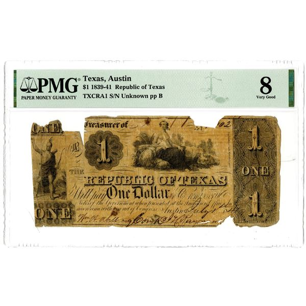 Republic of Texas, 1841, $1 Obsolete Banknote