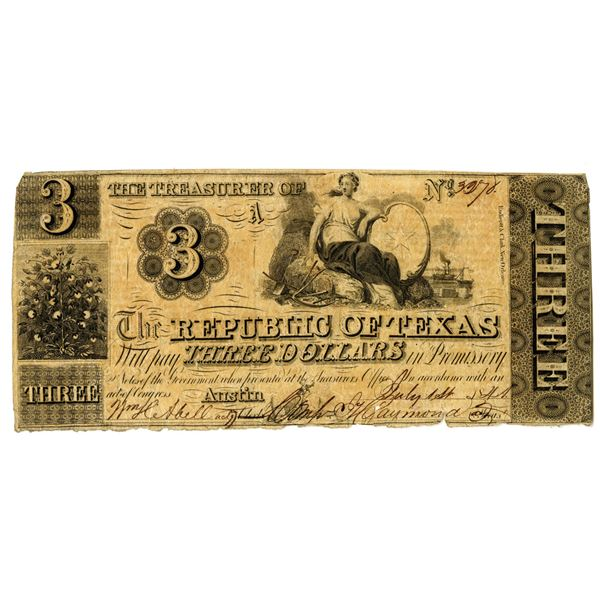 Republic of Texas, 1841, $3 Obsolete Banknote