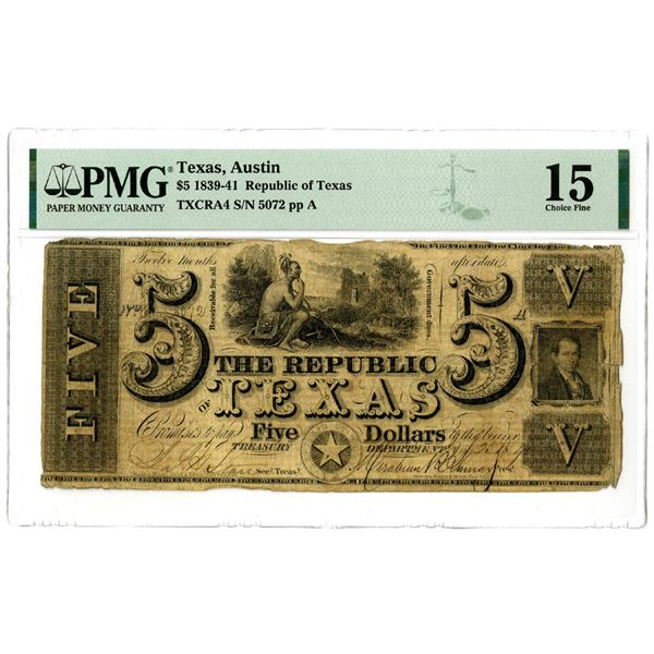 Republic of Texas, 1841, $5 Obsolete Banknote