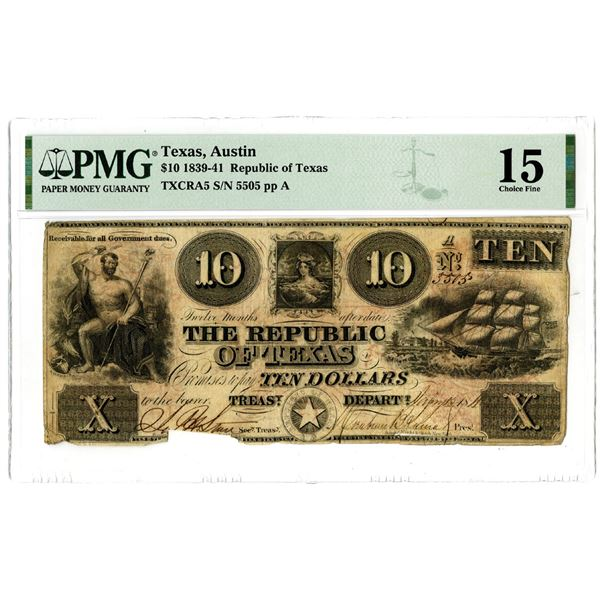Republic of Texas, 1841, $10 Obsolete Banknote
