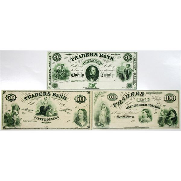 Traders Bank, 1859-60's Proprietary Proof Obsolete Banknote Trio.