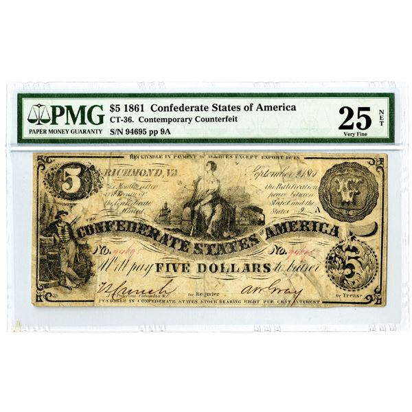 Confederate States of America, 1861 $5, CT-36, Contemporary Counterfeit Banknote
