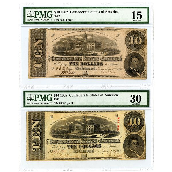 C.S.A., 1862 $10, T-52 Issued Banknote Pair.