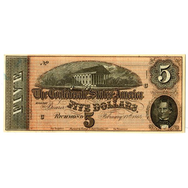 C.S.A., 1864, $5, T-69, Cr.565,  Unissued 7 over Inverted 7 Series Banknote.