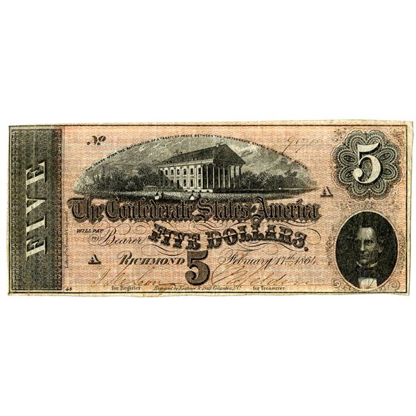 C.S.A., 1864, $5, T-69, Issued Banknote.
