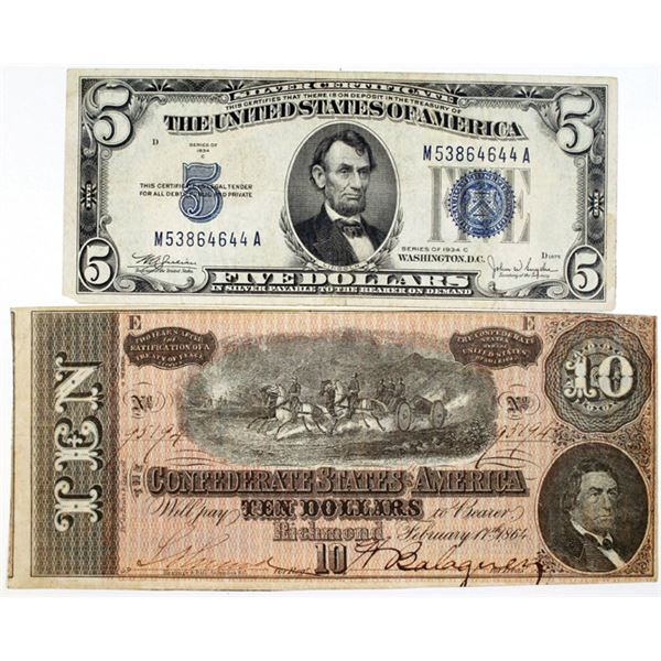 C.S.A., 1864 $10 note and U.S. $5 Series of 1934 C Silver Certificate.