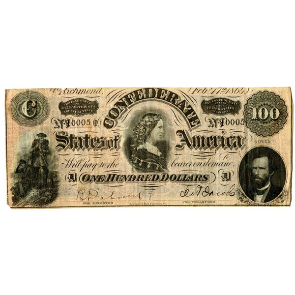 C.S.A., 1864, $100, Issued Banknote.