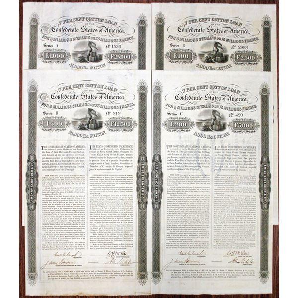 """C.S.A., 1863 """"Erlanger"""" Cotton Loan Bond Quartet"""