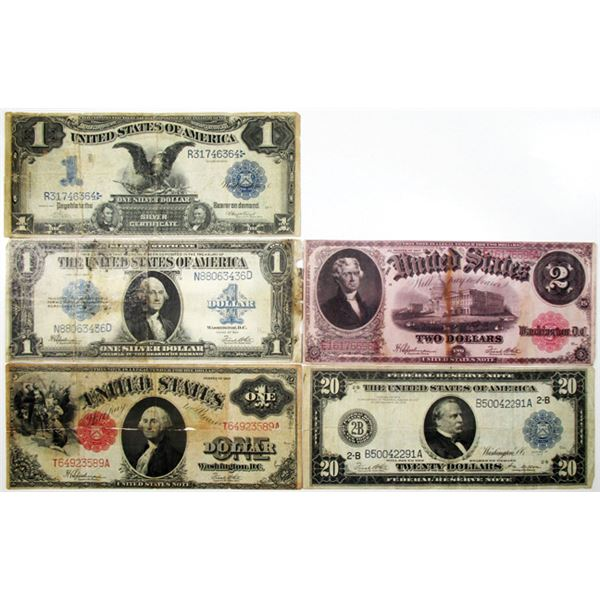 U.S. Large Type Banknote Assortment, ca.1899 to 1923.