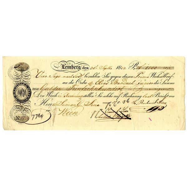 Lemberg Issued Bill of Exchange, 1833