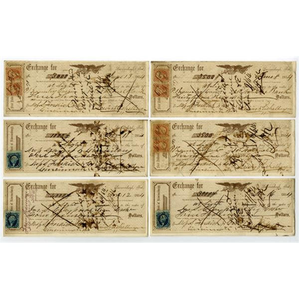Lawrenceburgh, Indiana Group of 6 Issued Exchanges, 1864