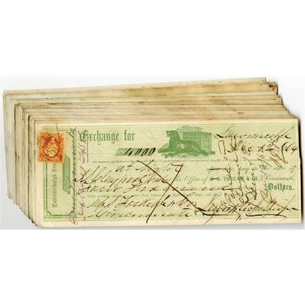 Lawrenceburgh Branch Bank, E.G. Burkam & Co,1860's Exchange Drafts assortment