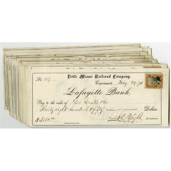 Little Miami Railroad Co., Lafayette Bank I/C Group of Checks, ca. 1870s