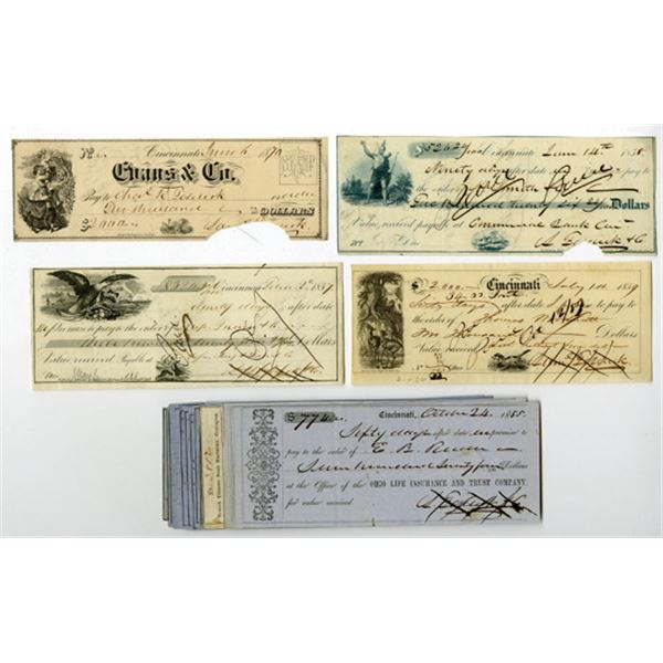 Ohio Banks, ca. 1850s Issued Check, Draft and receipt Assortment