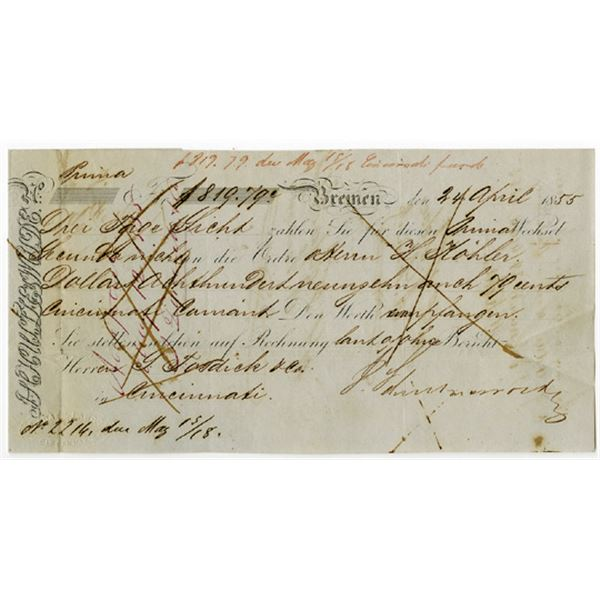 Bremen, Germany Issued Check in German, 1855, Issued to a Businessman located in Cincinnati, OH.
