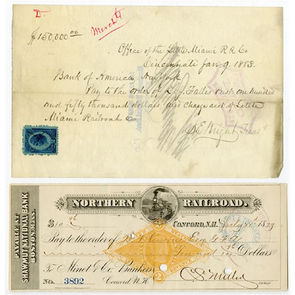 Northern RR of N.H. and Little Miami High Denomination Check Pair of I/C Checks, ca. 1879-1883