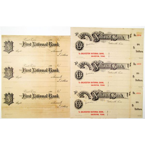 First National Bank of Frost and Gatesville National Bank Uncut Trio Proof/Specimen Check Pair