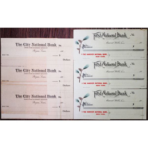 First National Bank of Mineral Wells, Texas and City National Bank Proof/Specimen Check Pair, ca. 19