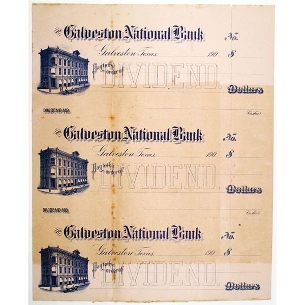 Galveston National Bank, ca. 1900s Uncut Proof/Specimen Dividend Check Trio