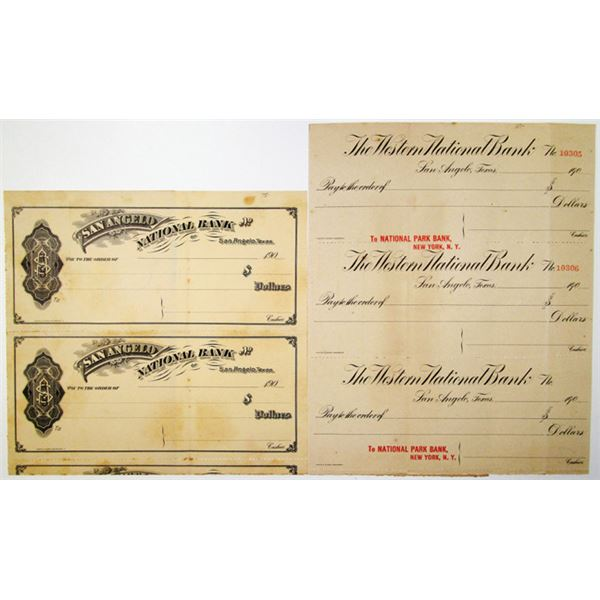 Pair of Uncut Proof/Specimen Checks from Texas Banks, ca. 1900s