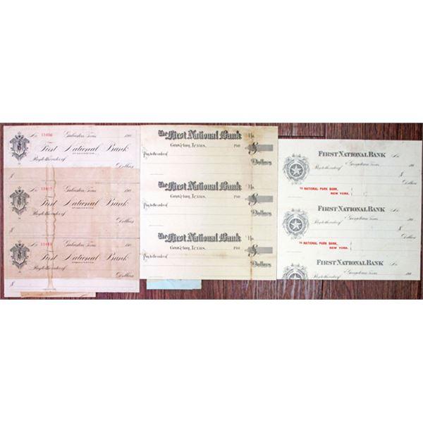 Proof/Specimen Check Trio from Texas Banks, ca. 1900s.