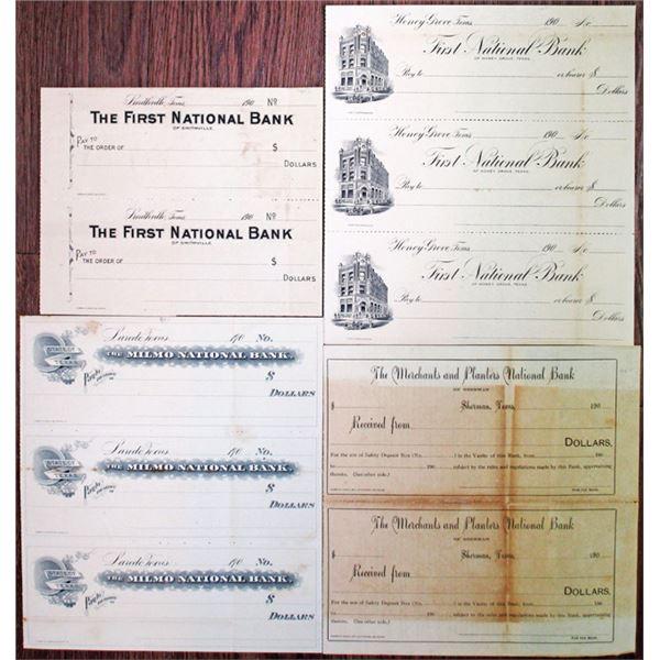 Quartet of Proof/Specimen Uncut Checks from Texas Banks, ca. 1900s
