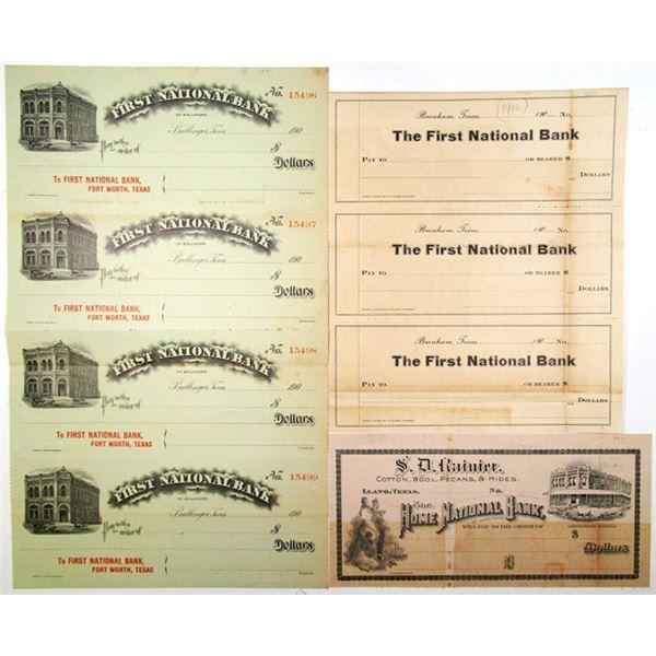 Texas Banks Proof/Specimen Uncut Check Sheet Trio, ca. 1900s