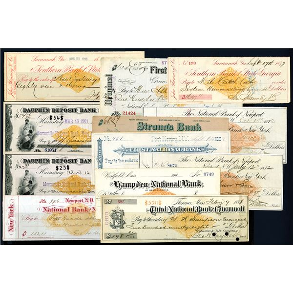 National Bank Checks, CA.1870-80's Most with Revenue Imprints