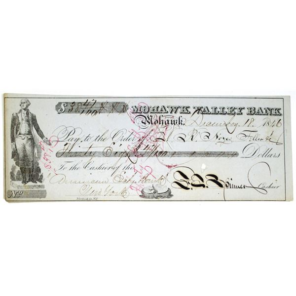 Francis E. Spinner Autograph on 1846 Mohawk Valley Bank Check