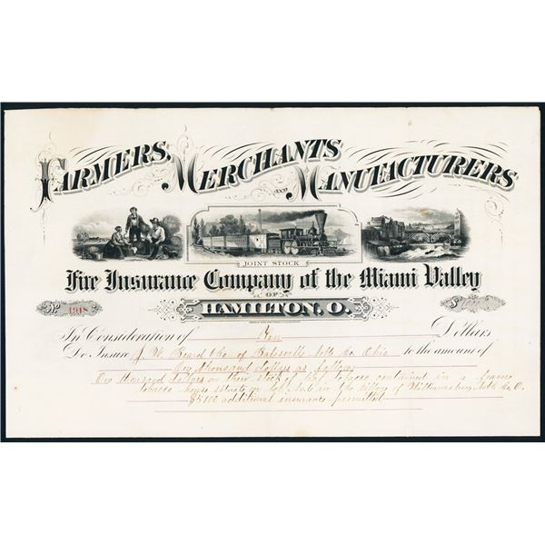 Farmers, Merchants and Manufacturers Fire Insurance Co. of the Miami Valley With Ornate ABN Design