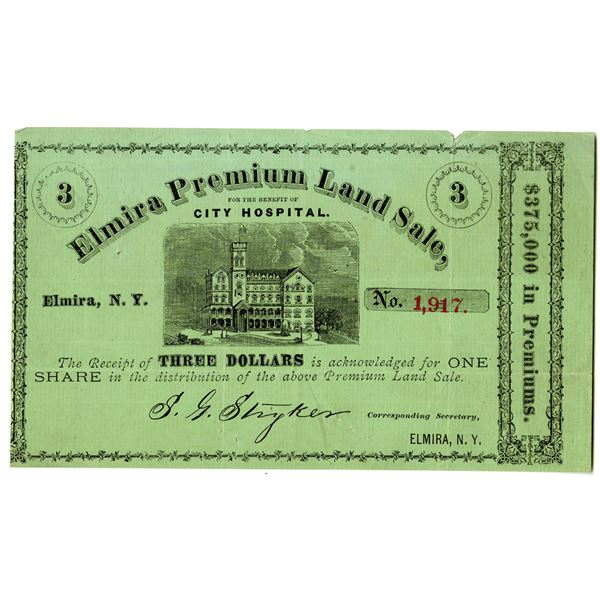 Elmira Premium Land Sale for the Benefit of City Hospital, ca.1870-1880's Issued Share - Lottery Cer