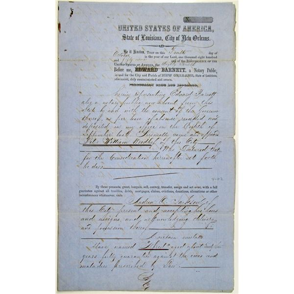 New Orleans, 1859 Slave Purchase Notary Document