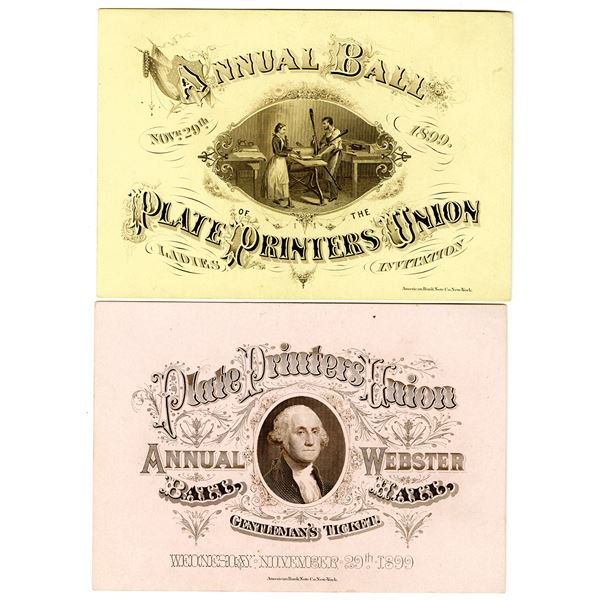 Plate Printers Union, Annual Ball, 1899 Gentleman's and Ladies' Ticket Pair.