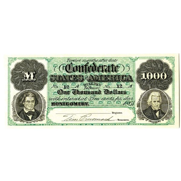 Tim Prusmack, Confederate $1000 Limited Printing Artwork #39 out of 250.