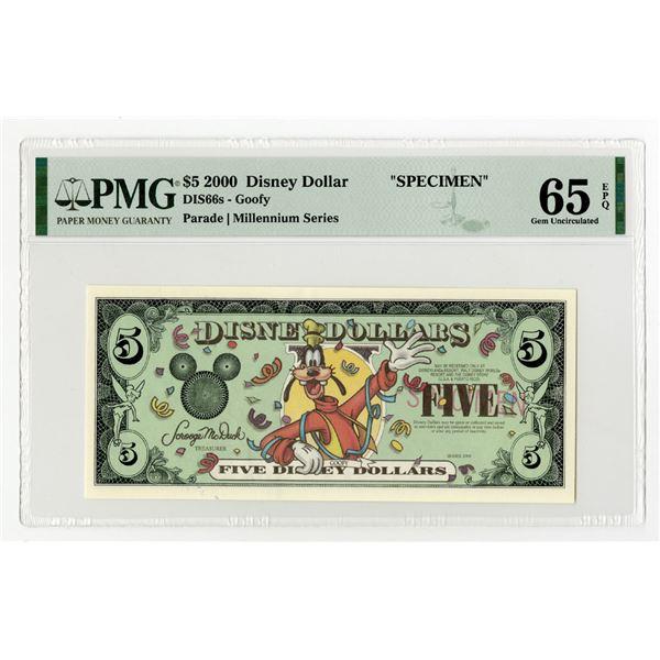 Disney Dollars - Disneyland Park - 2000 - Millennium Series, Specimen Banknote.